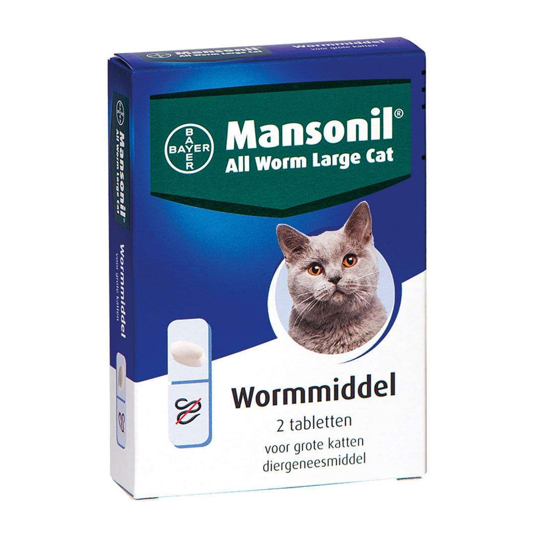 Mansonil All Worm tabletten grote kat 2 st