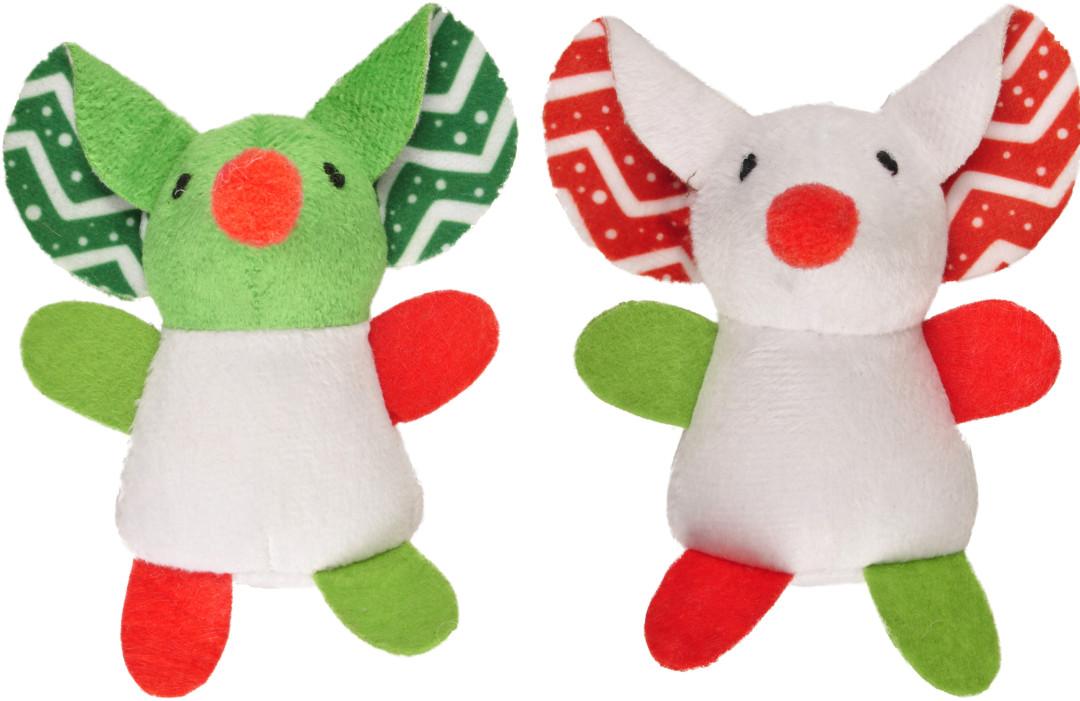 Kerstspeelgoed Muis met flaporen assorti