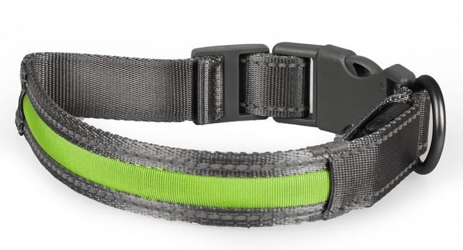 Veiligheidshalsband Metal flash light USB groen