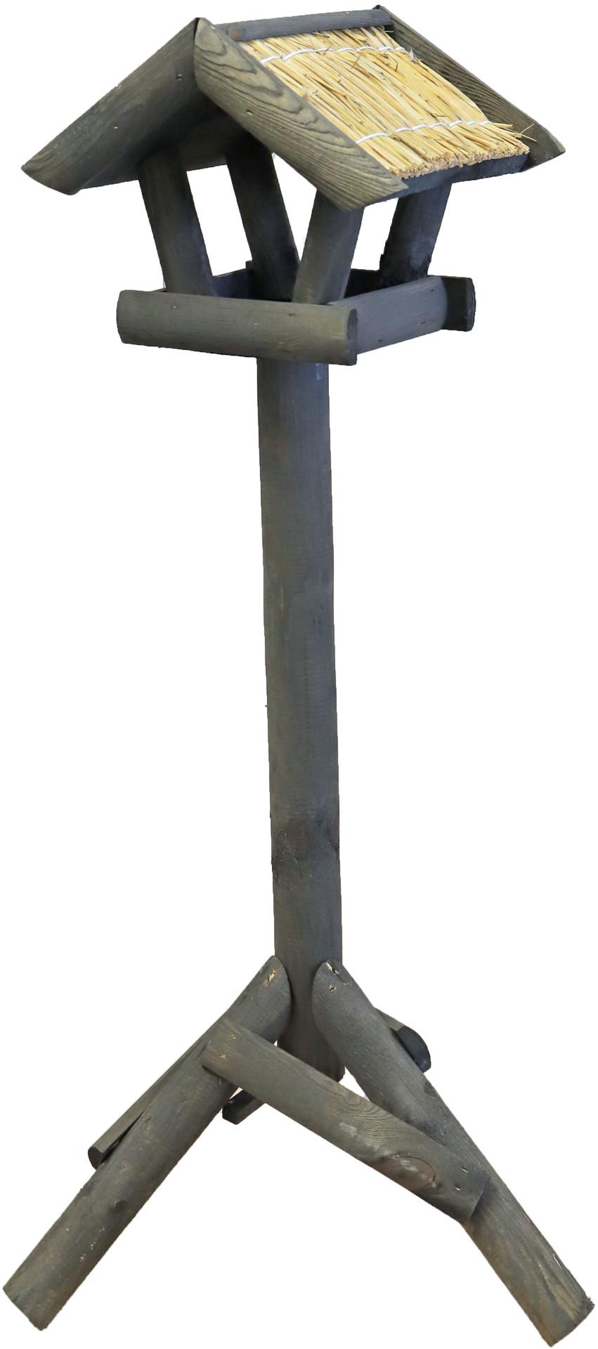 Voederhuis mini met stro dak grijs