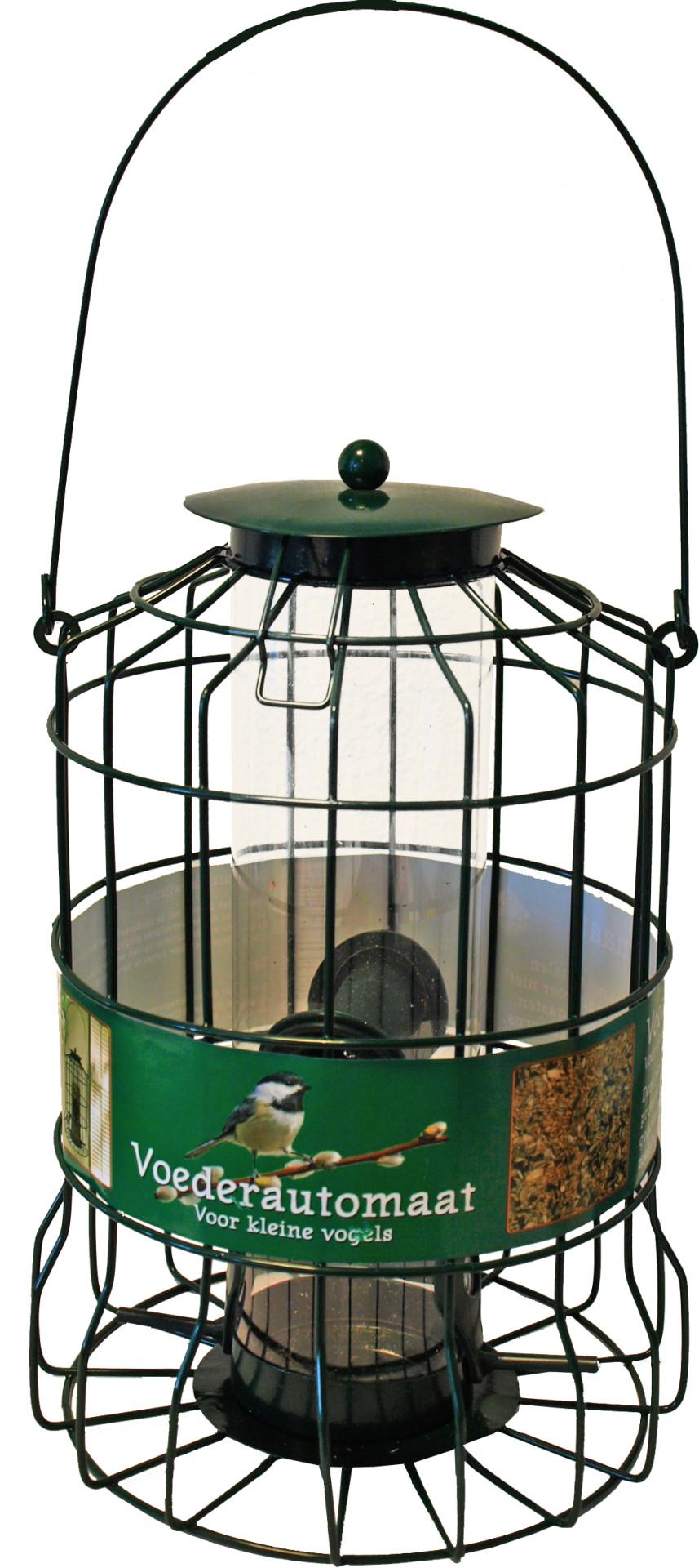 Voederautomaat voor kleine vogels metaal groen