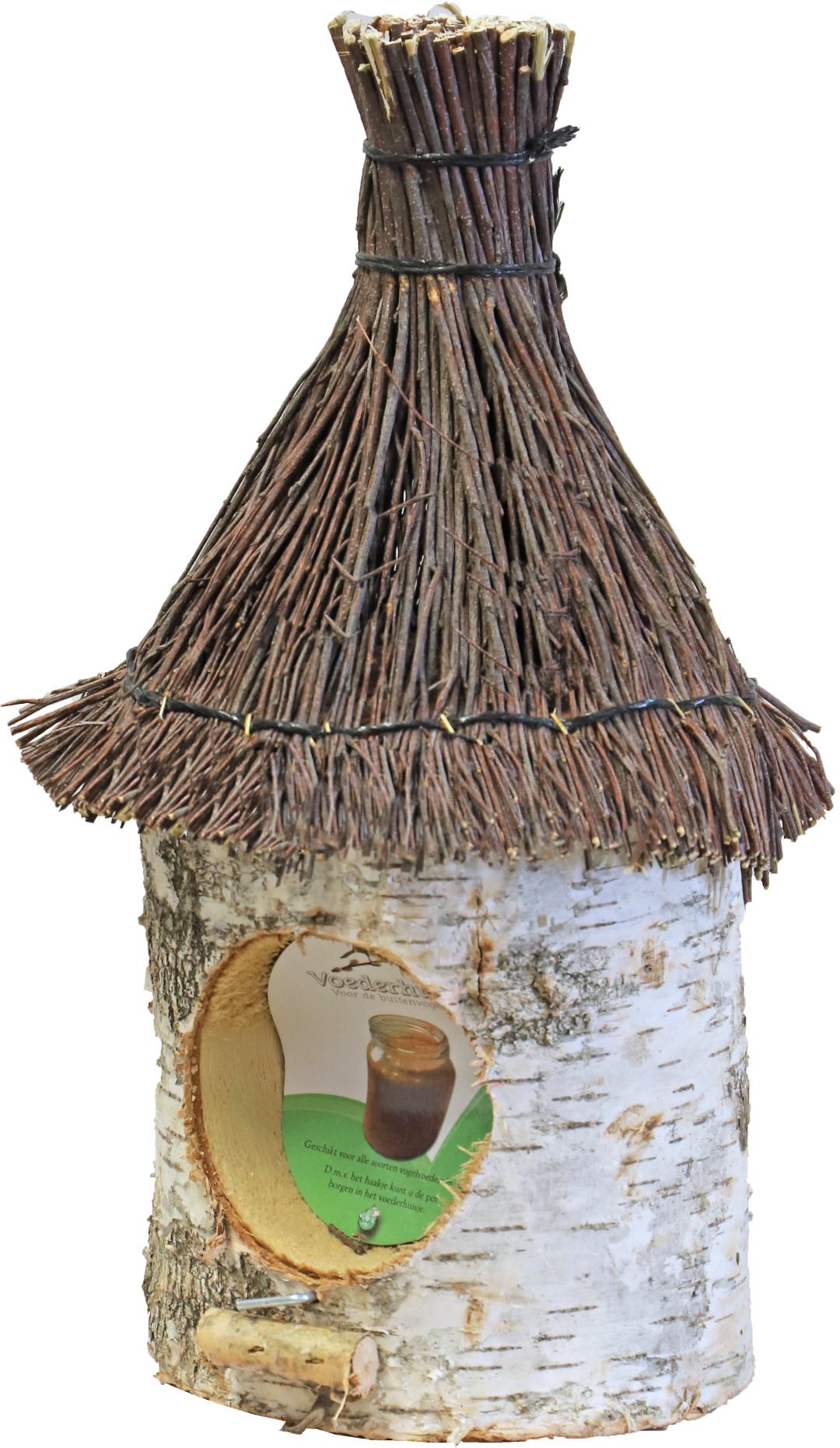 Pindakaaspothouder berken met steen dak