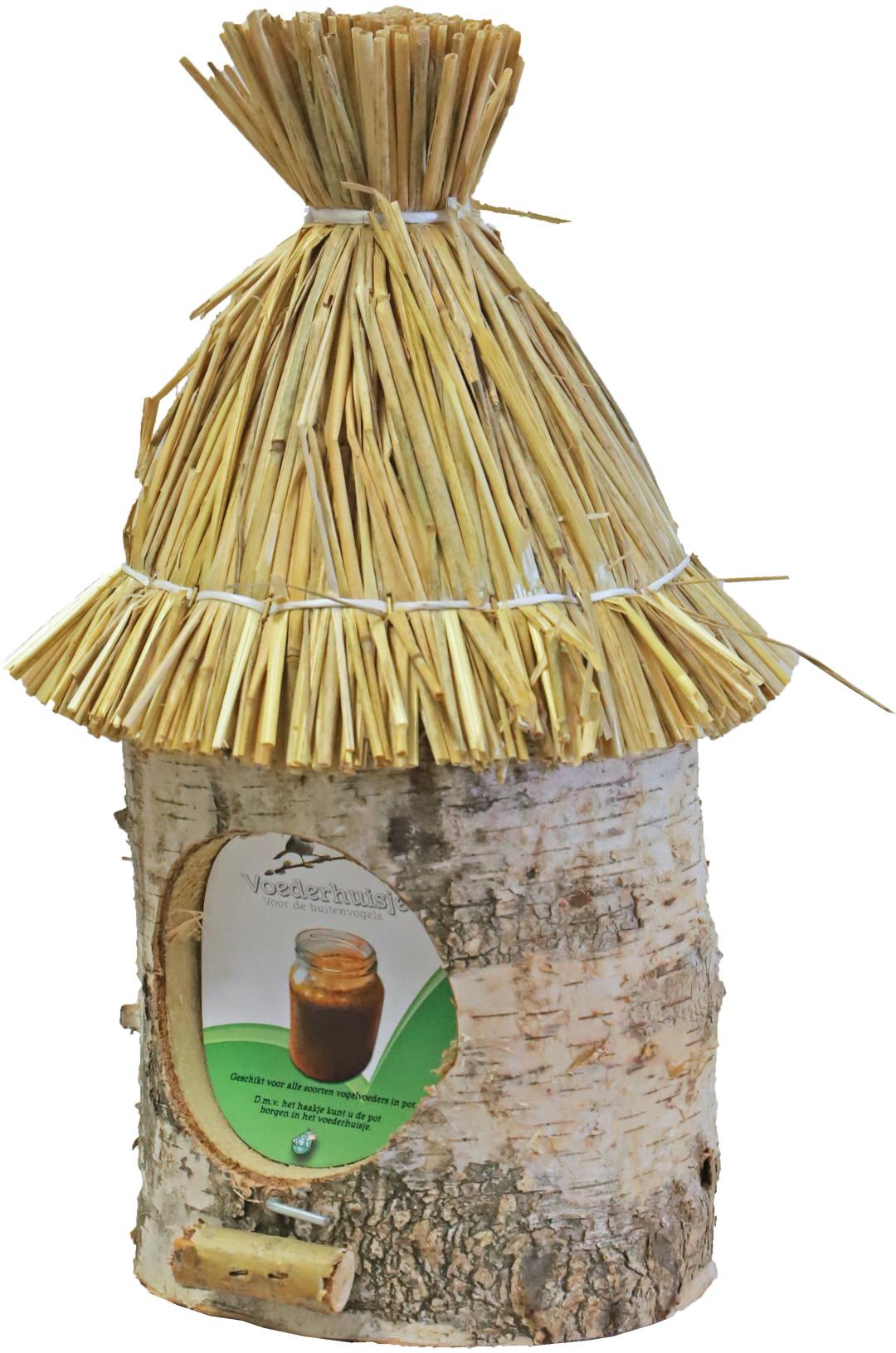 Pindakaaspothouder berken met stro dak