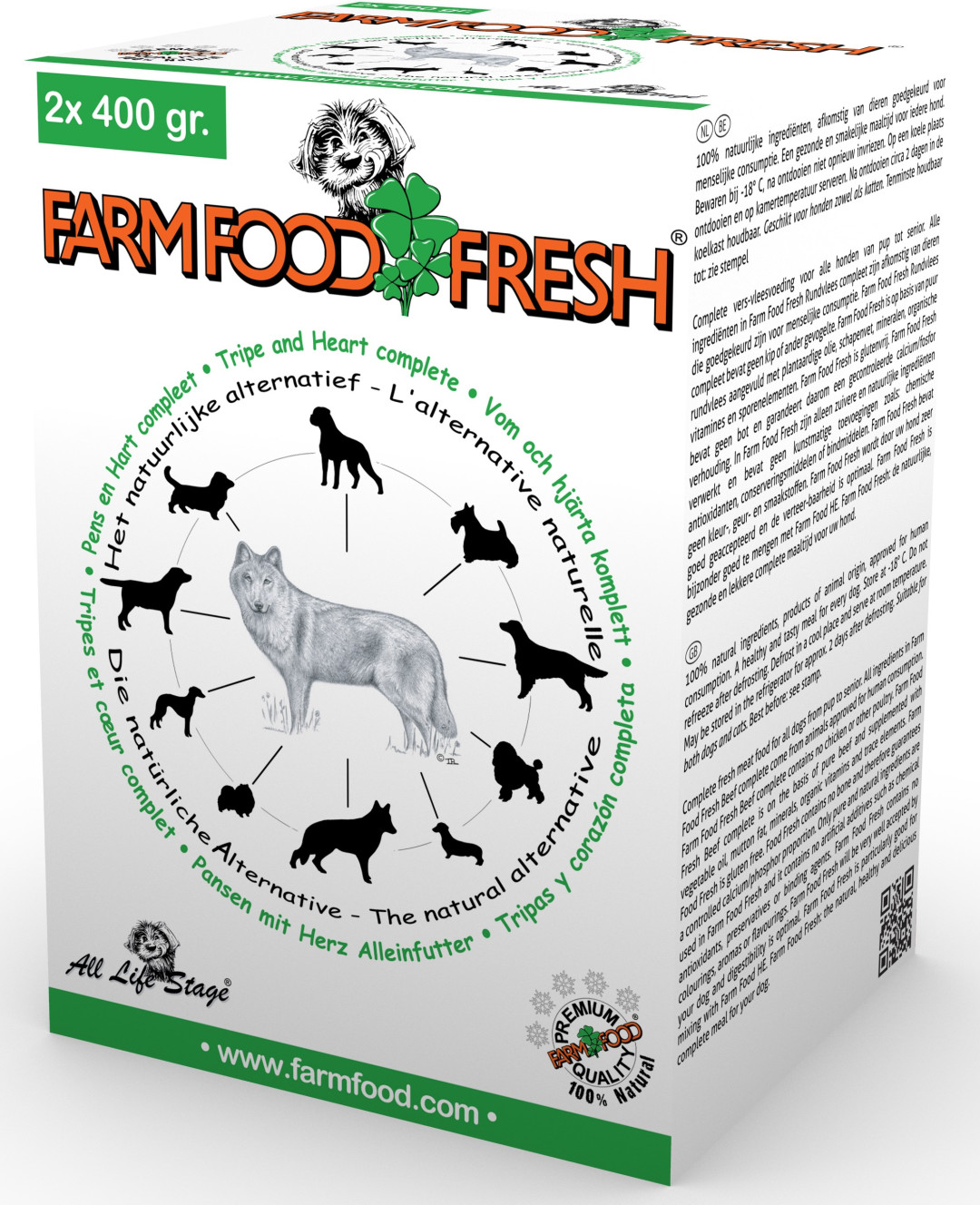 Farm Food Fresh hondenvoer pens & hart compleet 2 x 400 gr
