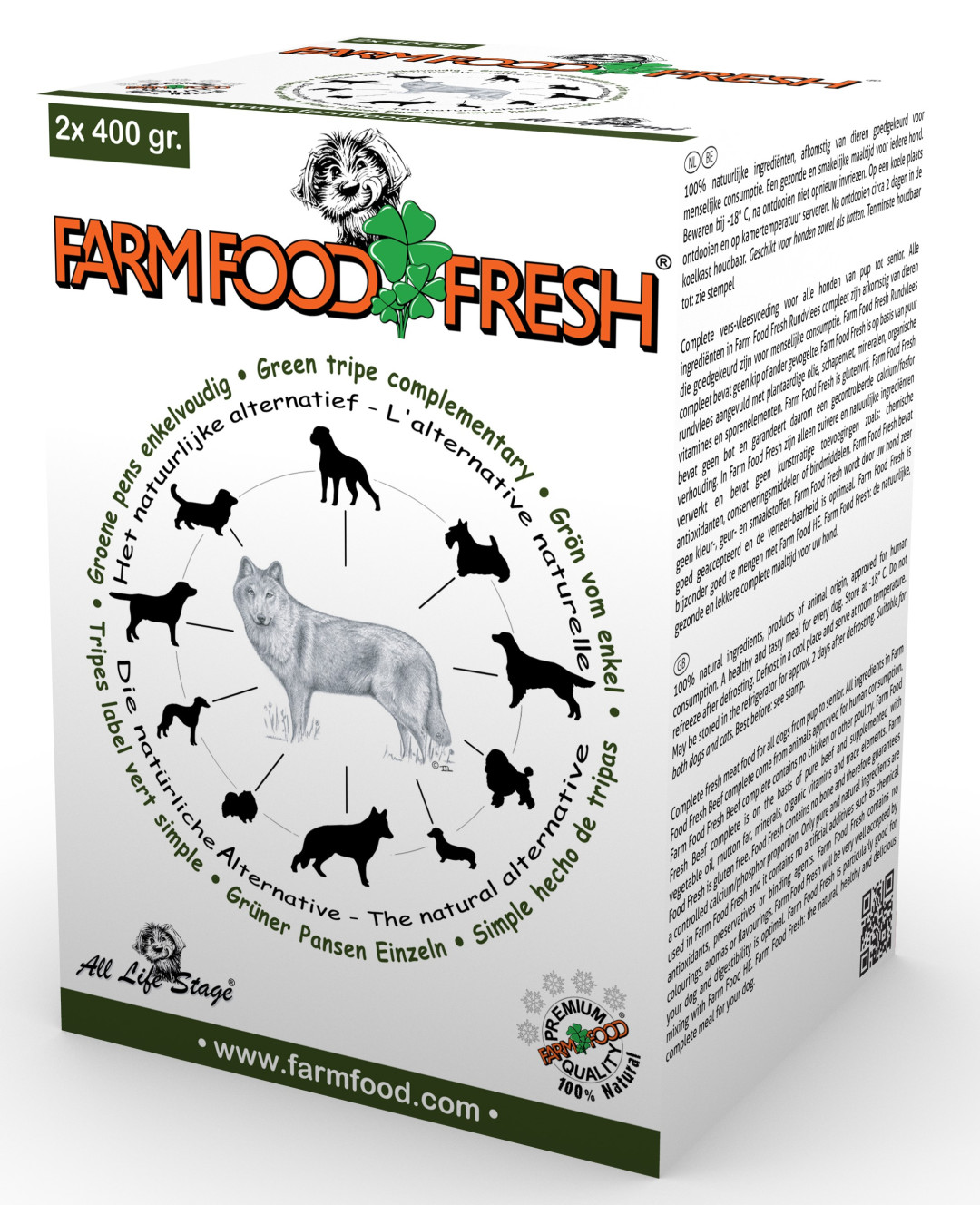 Farm Food Fresh hondenvoer pens enkelvoudig 2 x 400 gr