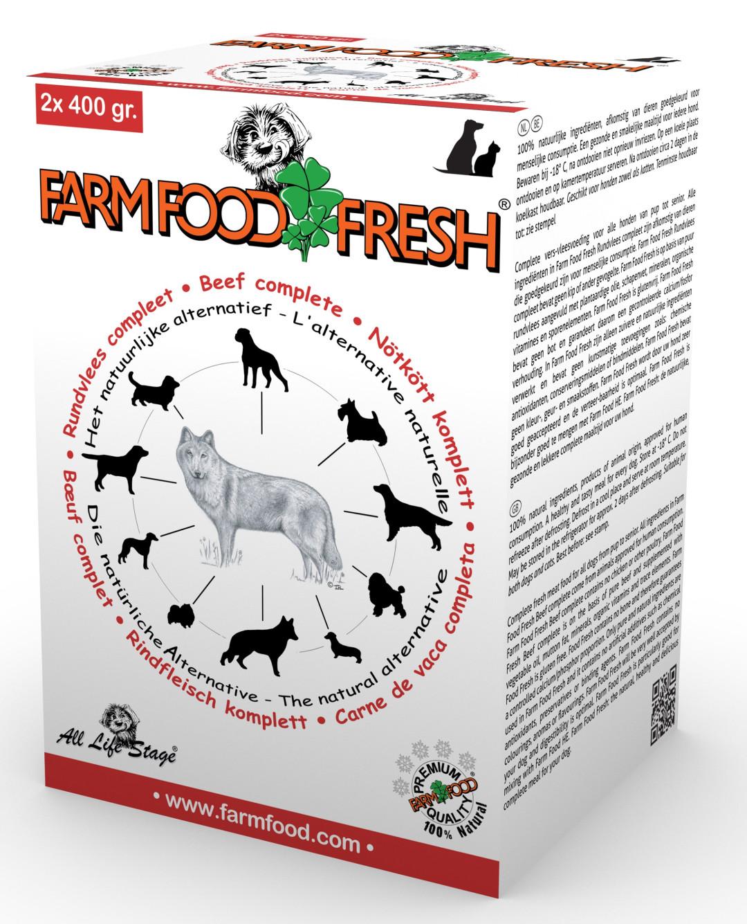 Farm Food Fresh hondenvoer rundvlees compleet 2 x 400 gr