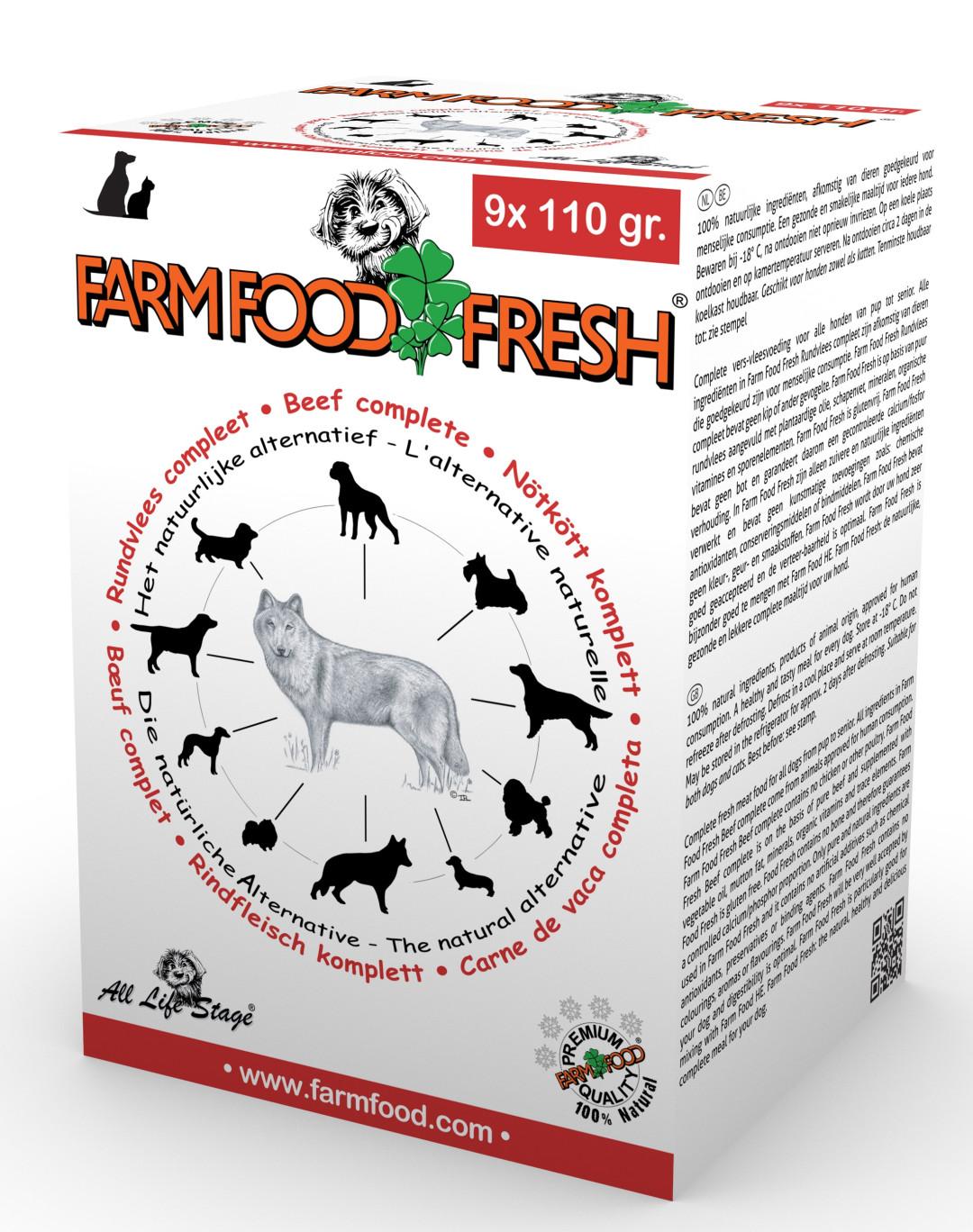 Farm Food Fresh hondenvoer rundvlees compleet 9 x 110 gr
