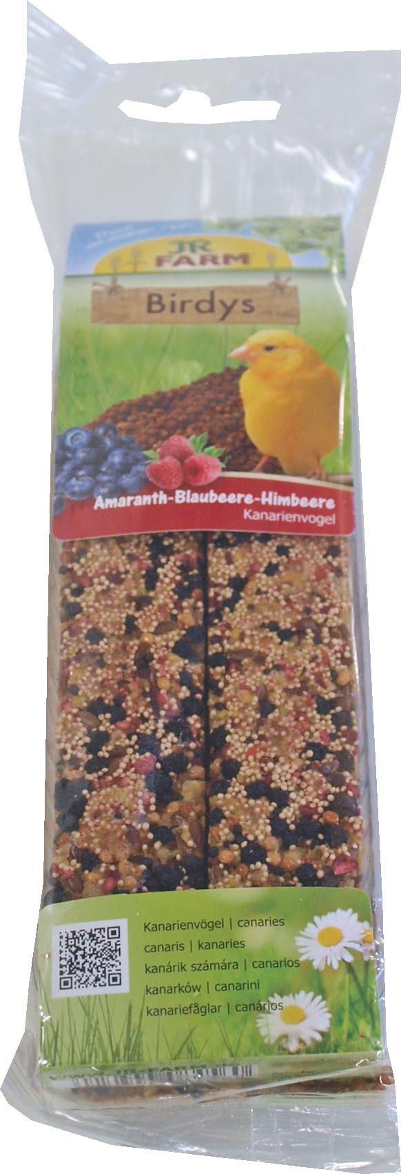 JR Farm Birdy kanarie amarant/blauwbes/ framboos 130 gr