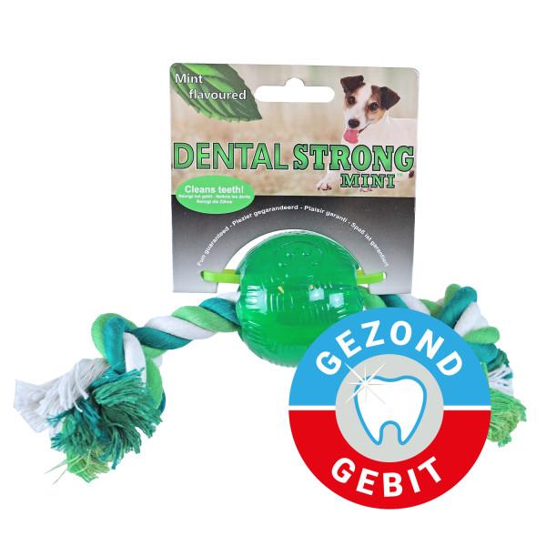 Dental Strong Mini bal met floss 6 cm groen