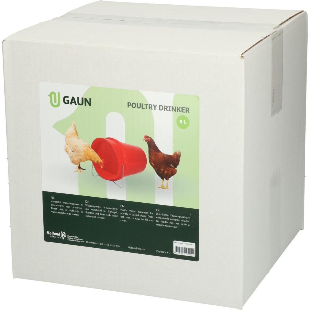 Gaun pluimvee drinkemmer kunststof <br>6 ltr red