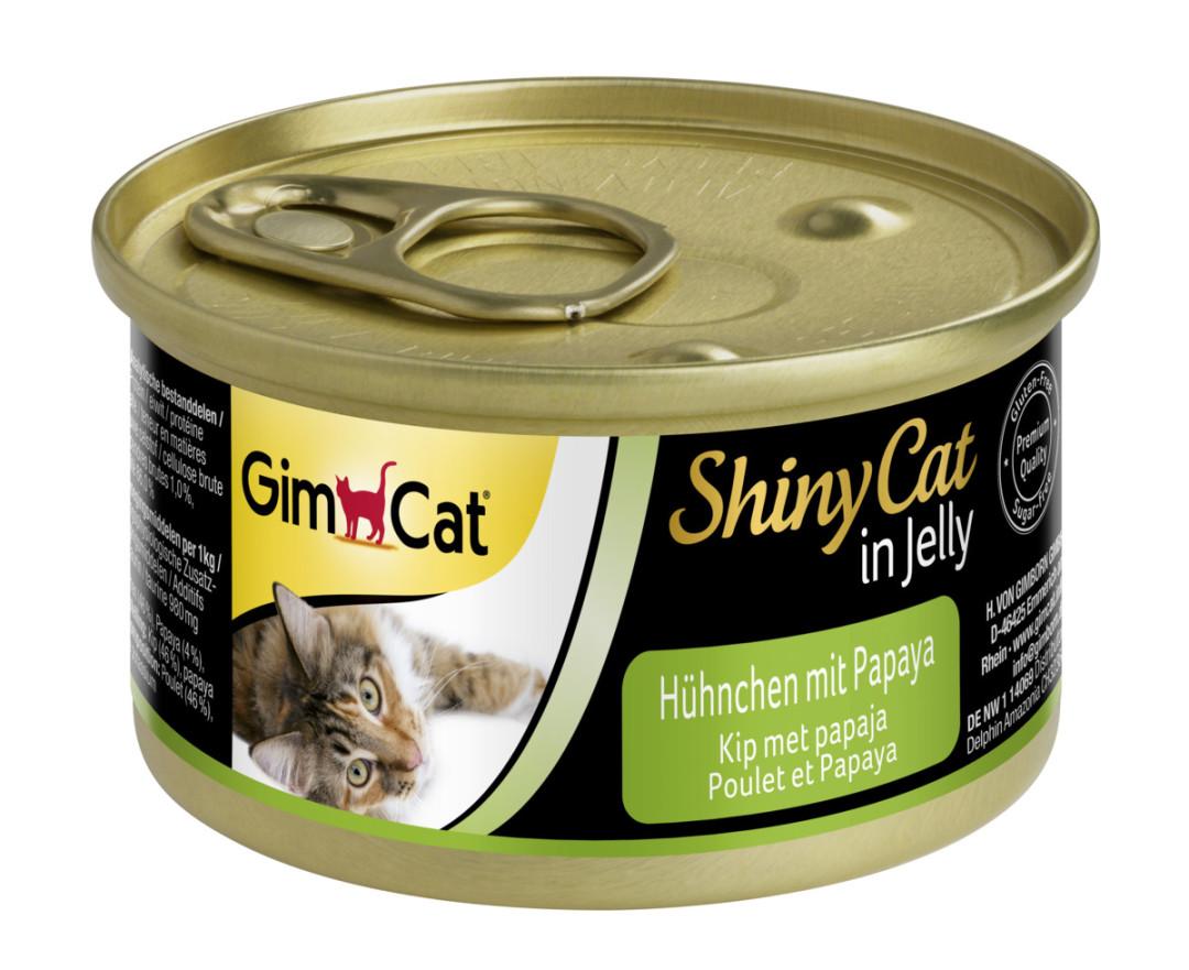 GimCat kattenvoer ShinyCat in jelly kip met papaja 70 gr
