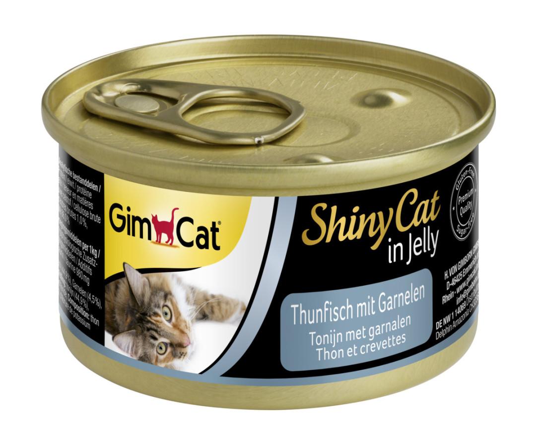 GimCat kattenvoer ShinyCat in jelly tonijn met garnalen 70 gr