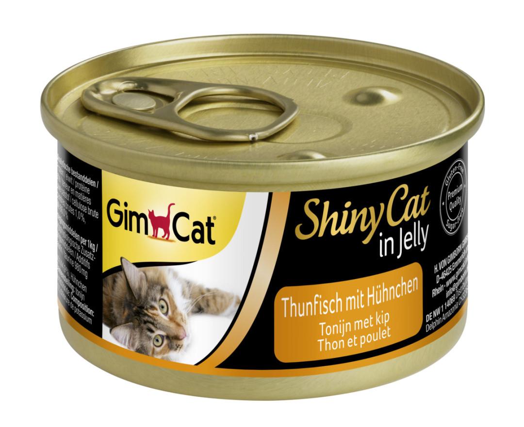 GimCat kattenvoer ShinyCat in jelly tonijn met kip 70 gr