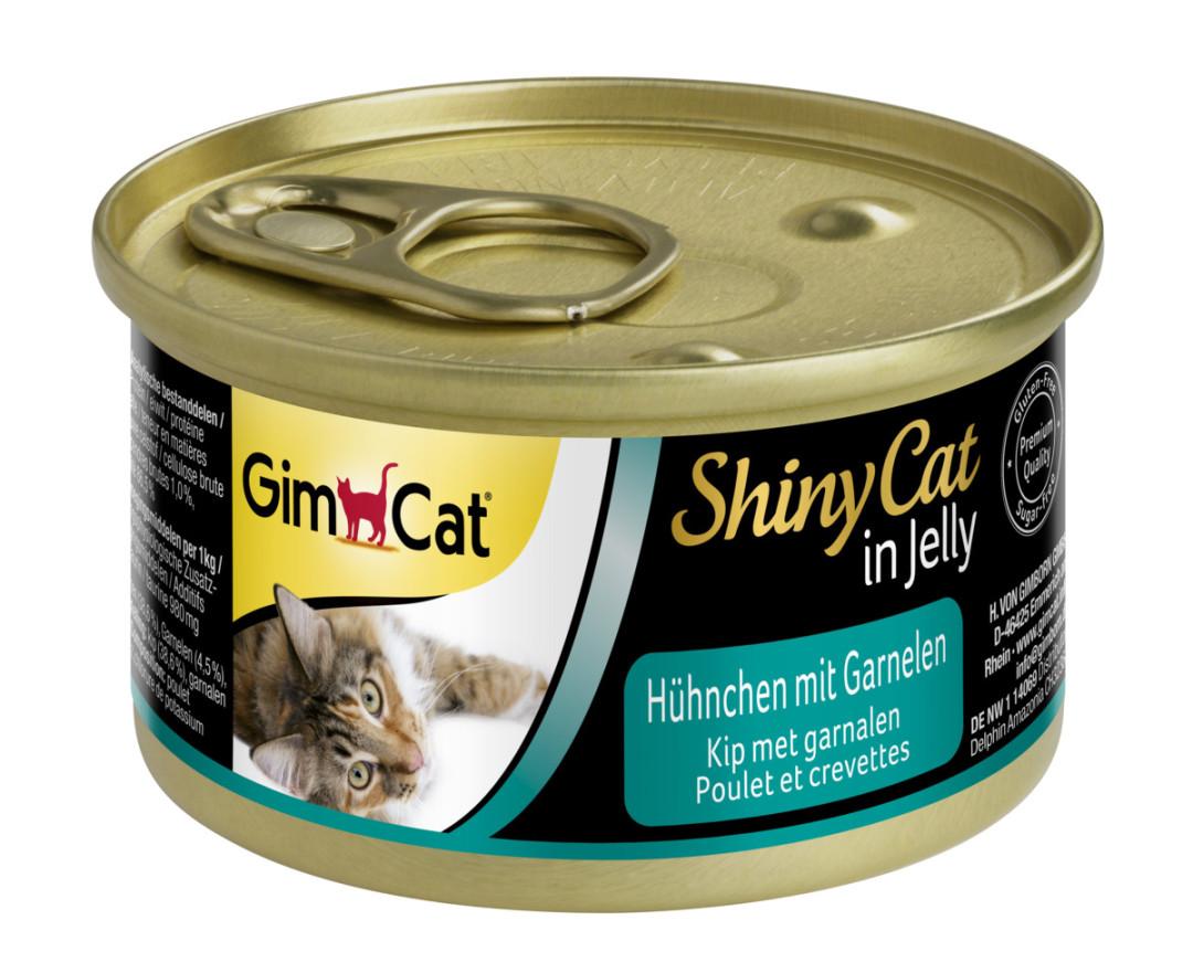 GimCat kattenvoer ShinyCat in jelly kip met garnalen 70 gr