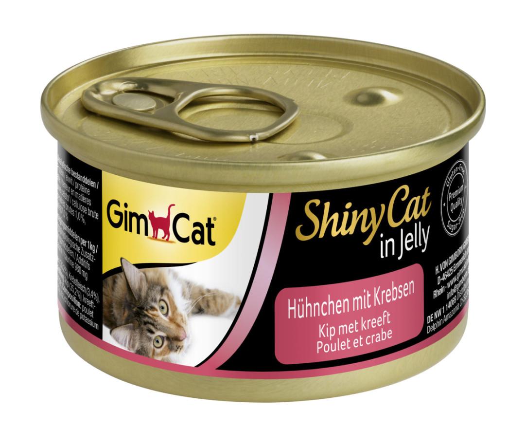GimCat kattenvoer ShinyCat in jelly kip met krab 70 gr
