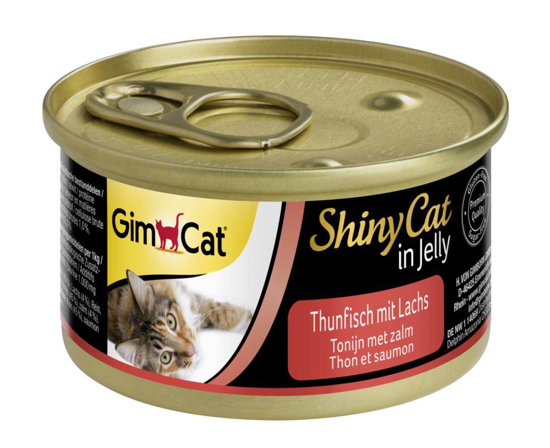 GimCat kattenvoer ShinyCat in jelly tonijn met zalm 70 gr