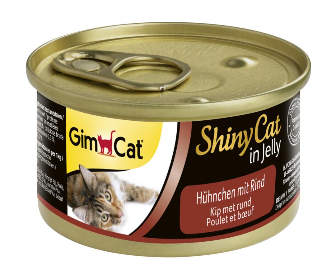 GimCat kattenvoer ShinyCat in Jelly kip met rund 70 gr