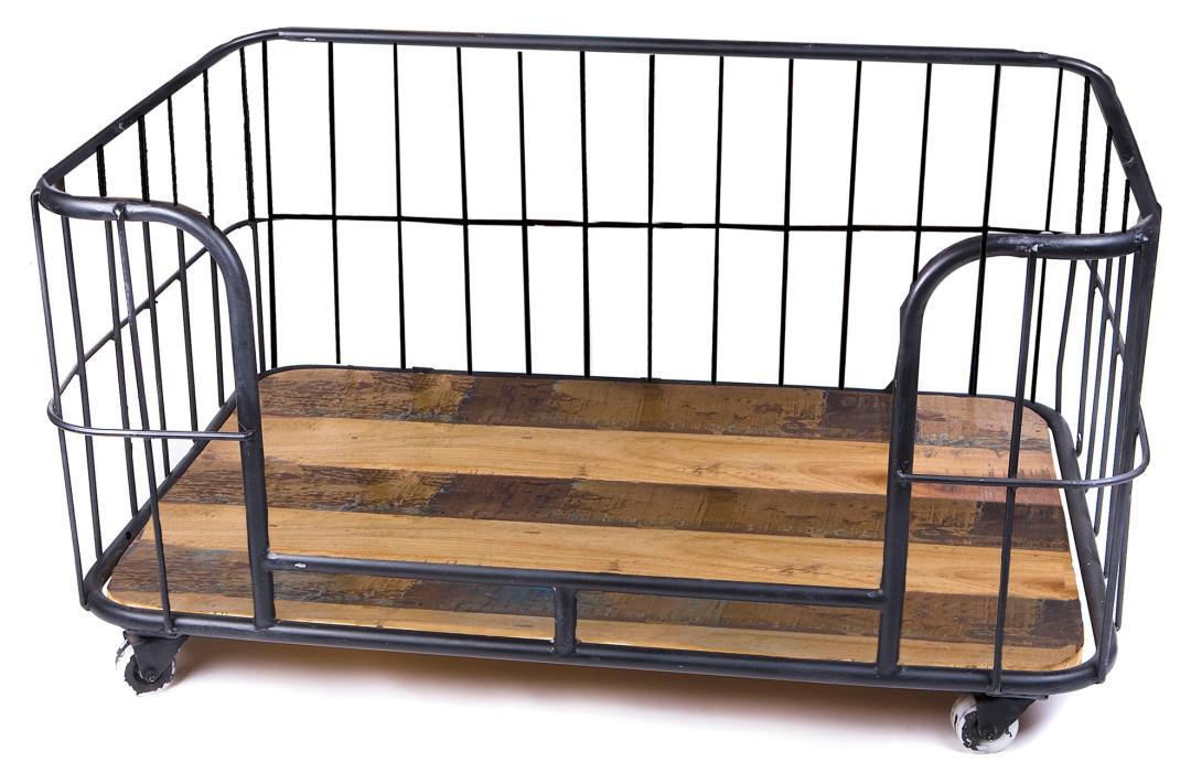 Lex & Max hondenbank metal wire basket zwart