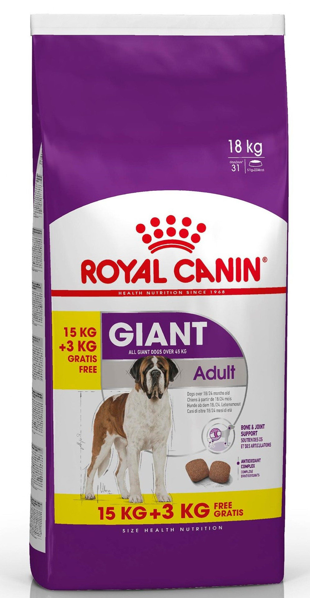 15 + 3 kg Royal Canin hondenvoer Giant Adult