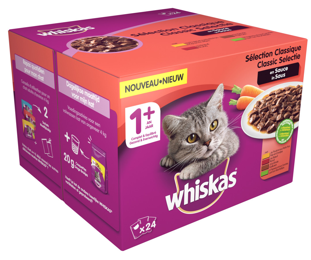Whiskas kattenvoer Adult Classic selectie in Saus 24 x 100 gr