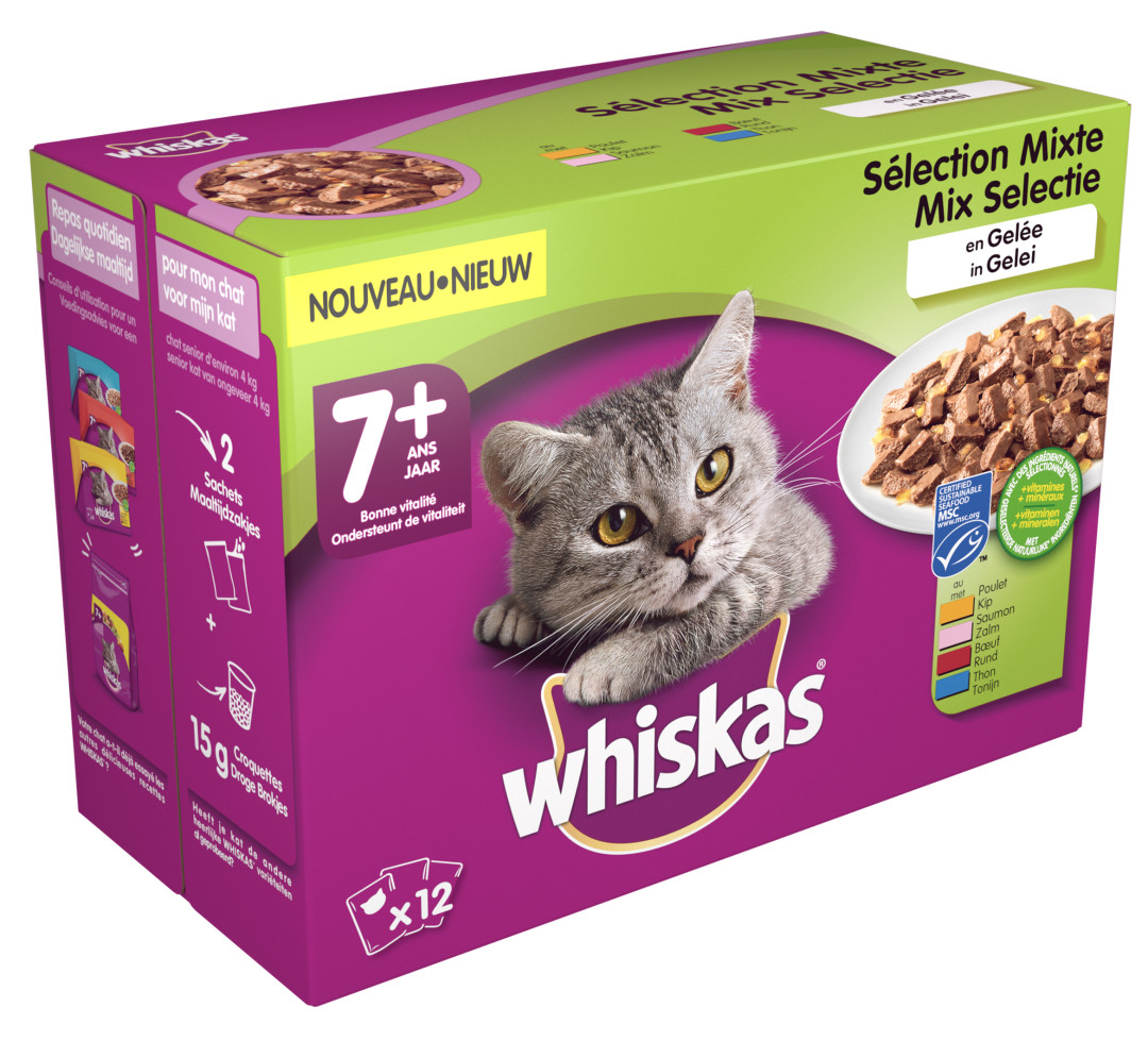 Whiskas kattenvoer Senior Mix in Gelei <br>12 x 100 gr