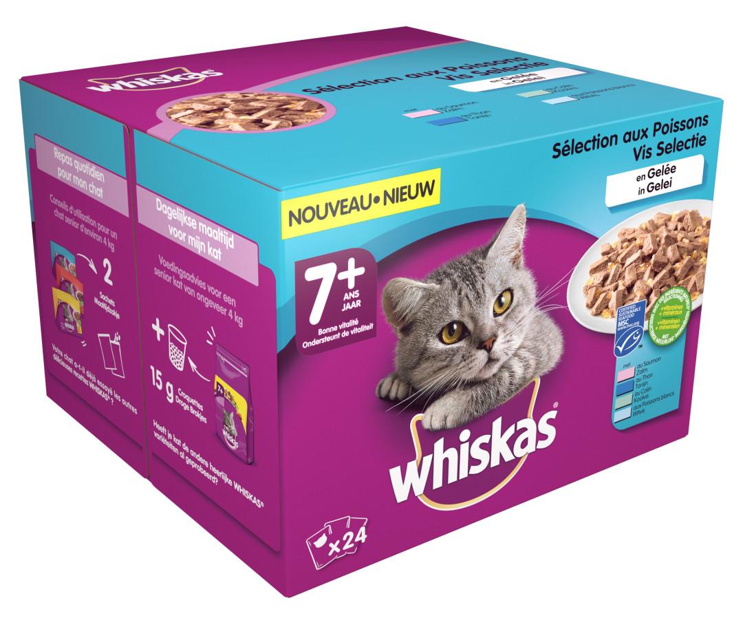 Whiskas kattenvoer Senior Vis in Gelei <br>24 x 100 gr