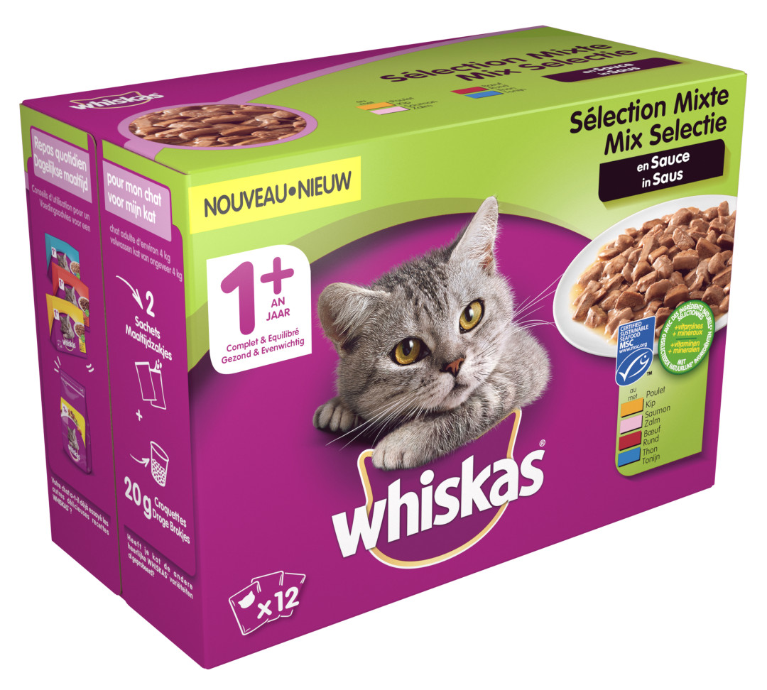 Whiskas kattenvoer Adult Mix in Saus <br>12 x 100 gr