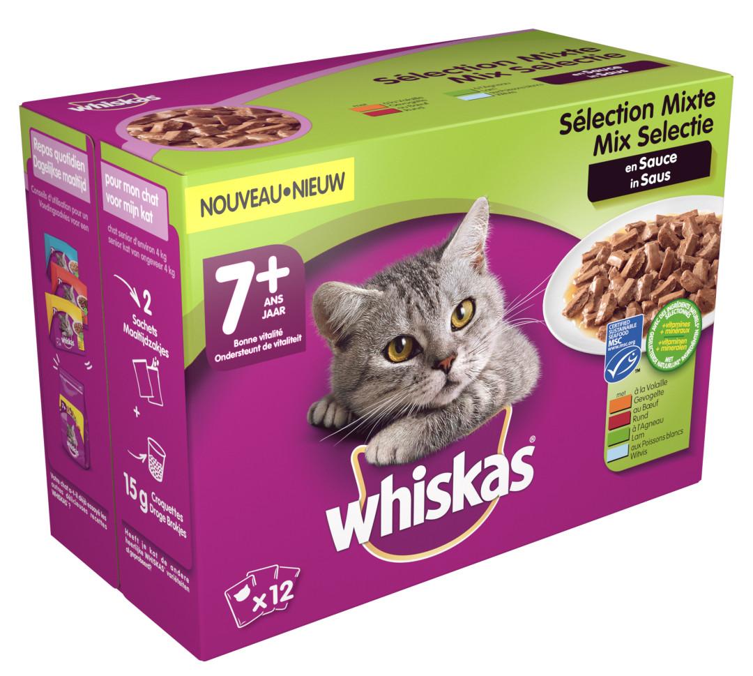 Whiskas kattenvoer Senior Mix in Saus <br>12 x 100 gr