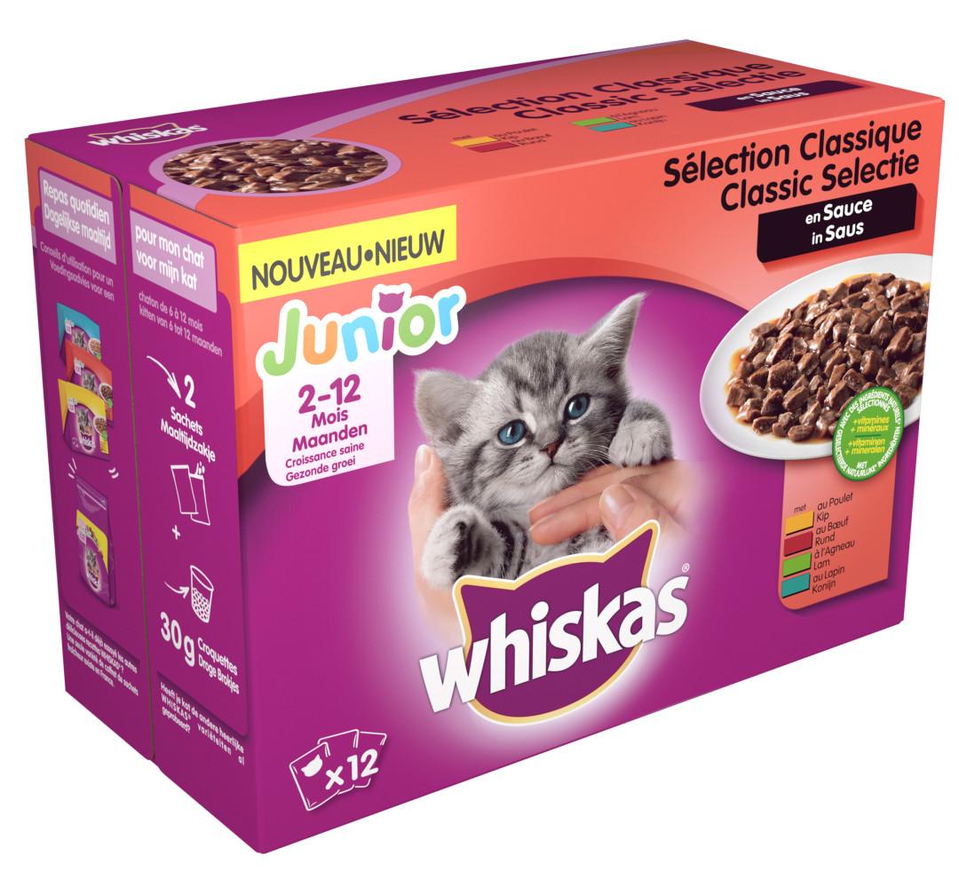 Whiskas kattenvoer Junior Classic in Saus <br>12 x 100 gr