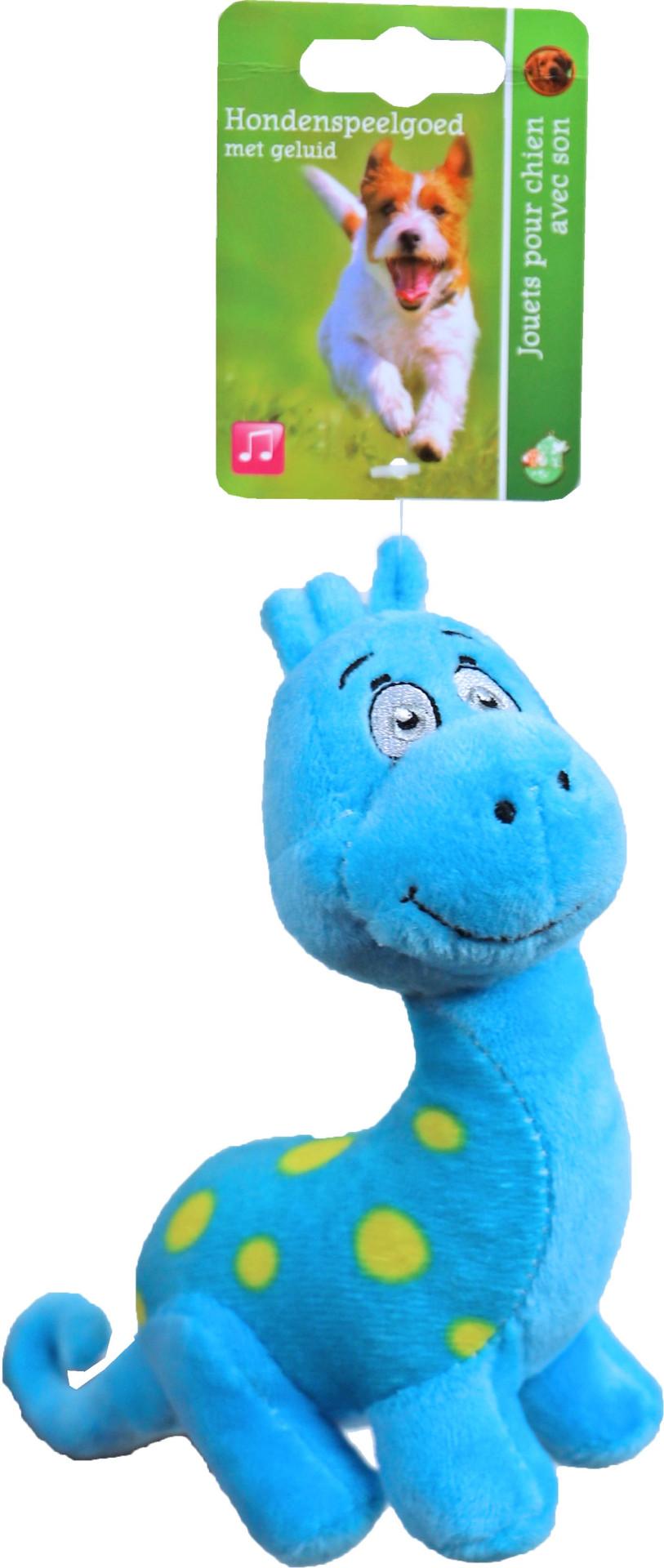 Dino blauw met piep <br>15 cm