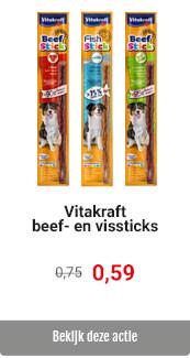 Vitakraft Beef- en Vissticks voor € 0.59