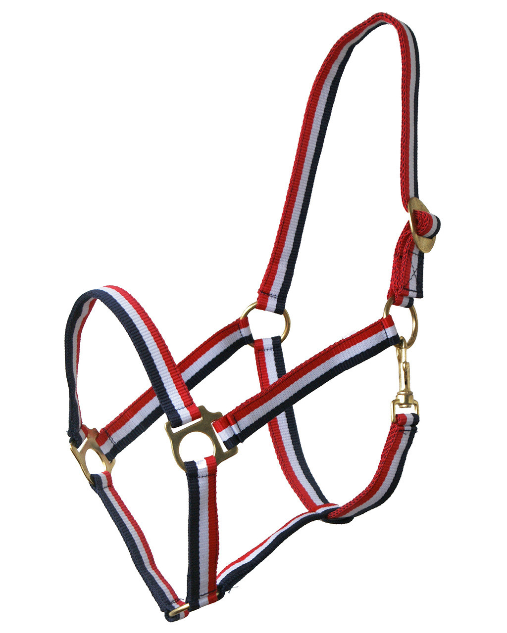 QHP halster schuif rood/wit/blauw