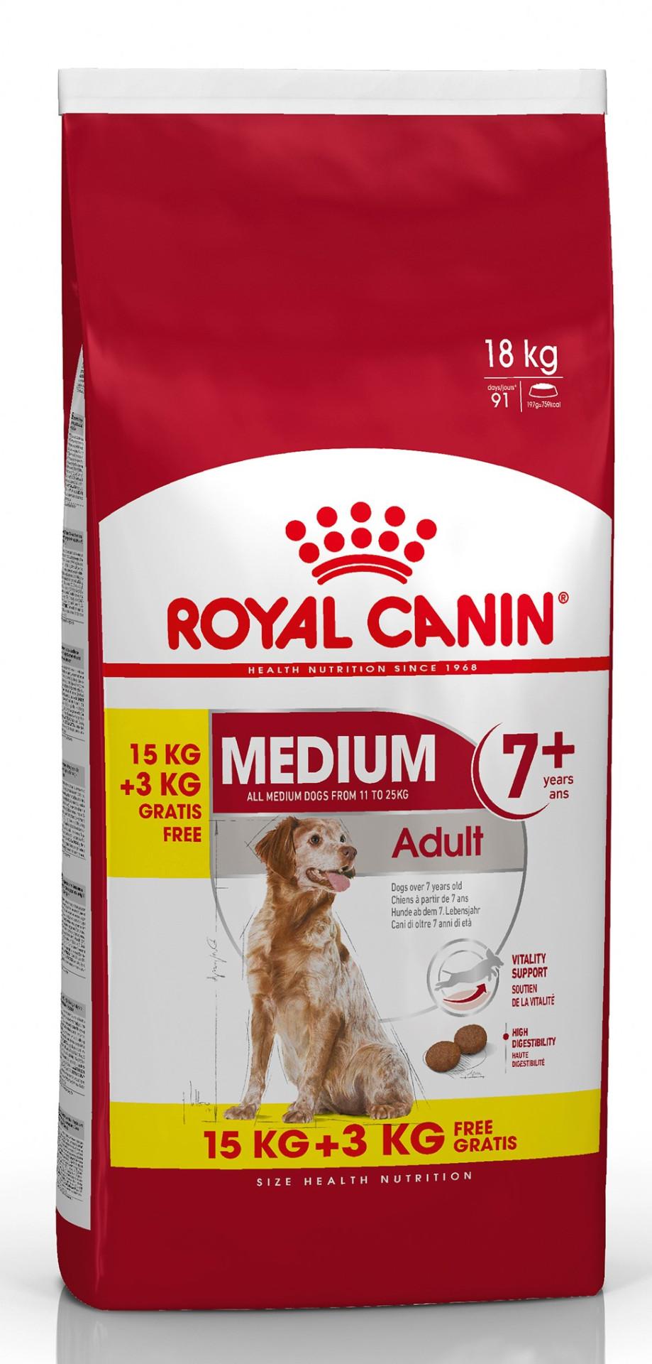 15 + 3 kg Royal Canin hondenvoer Medium Adult 7+