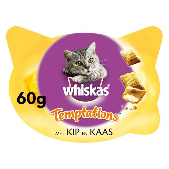 Whiskas Temptations kip & kaas 60 gr