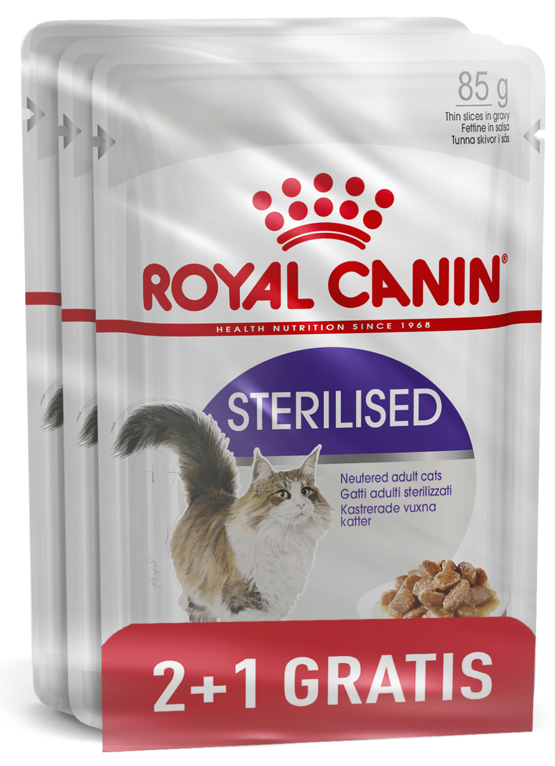Royal Canin kattenvoer Sterilised in Gravy 85 gr 2+1