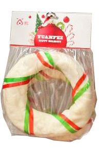 Kerst hondensnack runderhuid ring