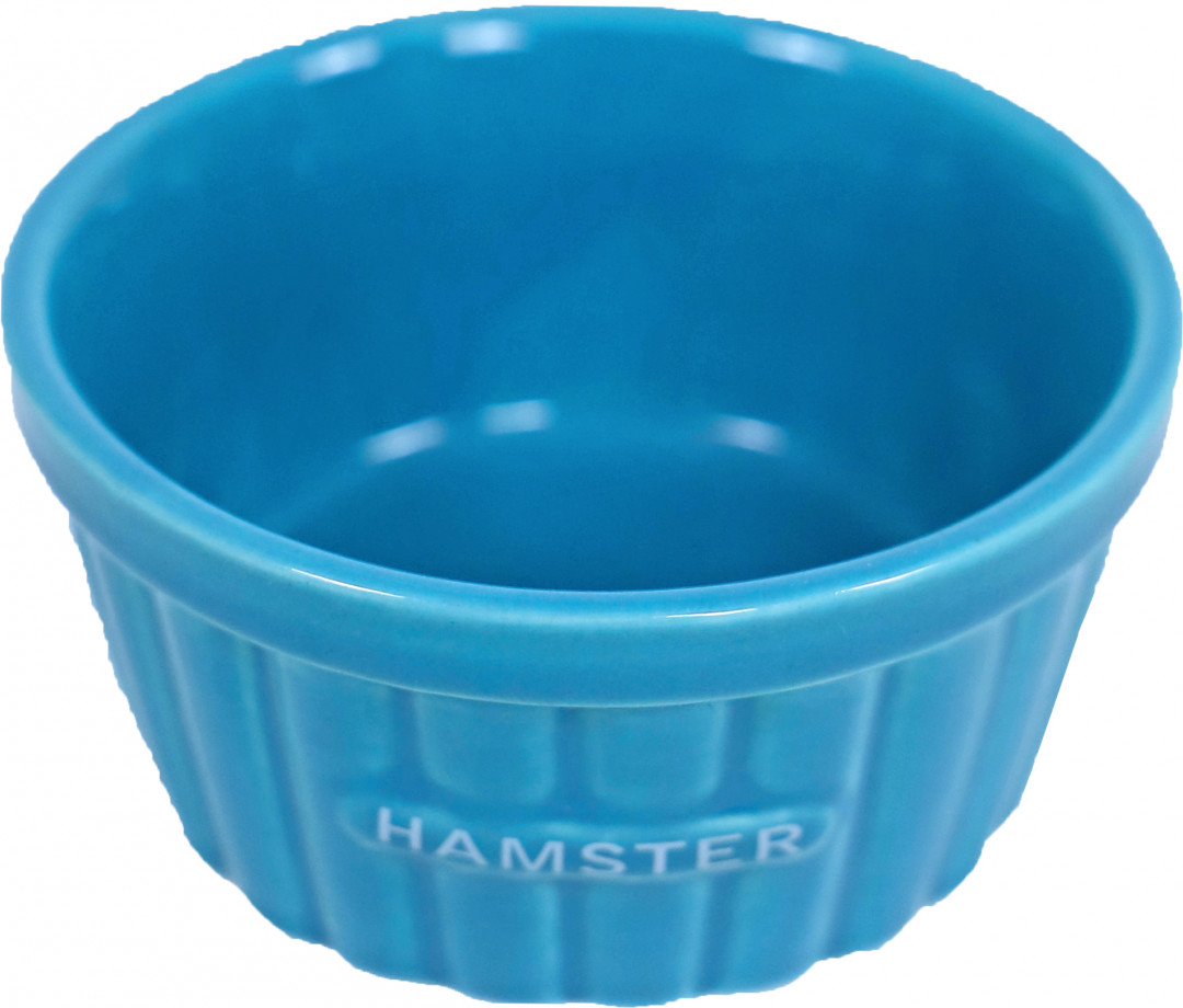 Hamster voerbak steen ribbel blauw 8 cm