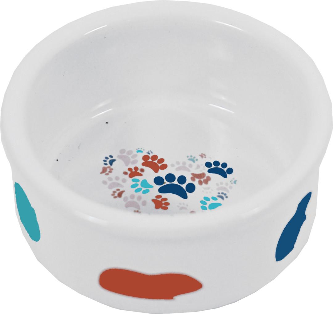Hamster voerbak steen wit met pastel print <br>7 cm