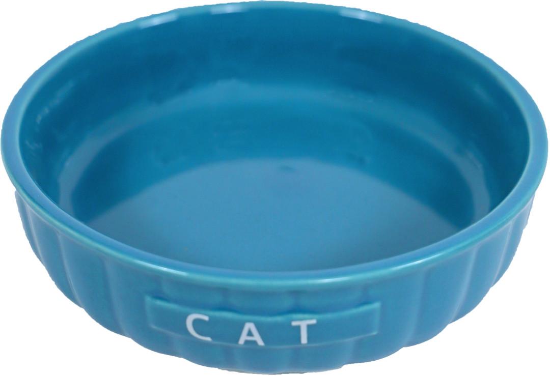 Kattendrinkschotel steen ribbel blauw <br>14 cm