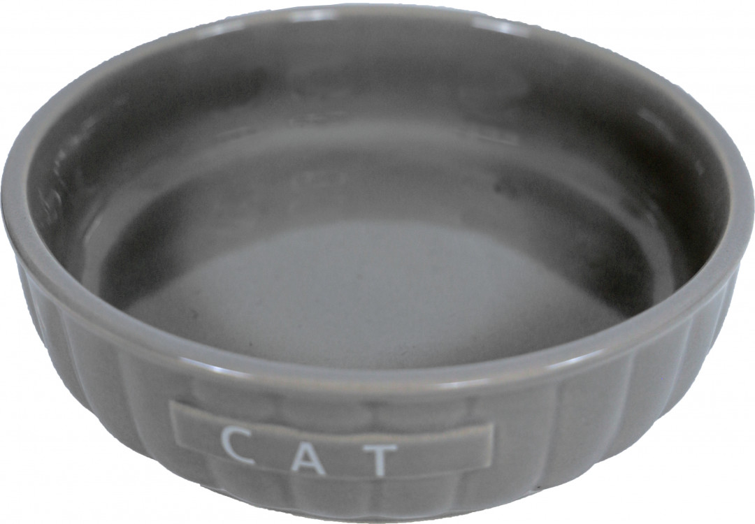 Kattendrinkschotel steen ribbel taupe <br>14 cm