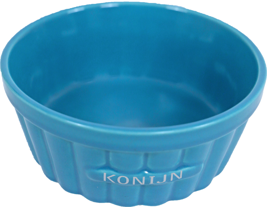 Konijnen voerbak steen ribbel blauw 12 cm