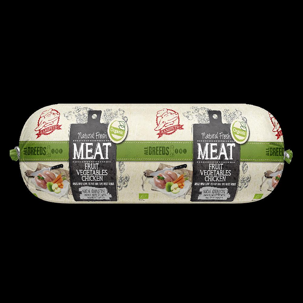 Natural Fresh MEAT Bio. hondenworst fruit, vegatables and chicken 600 gr