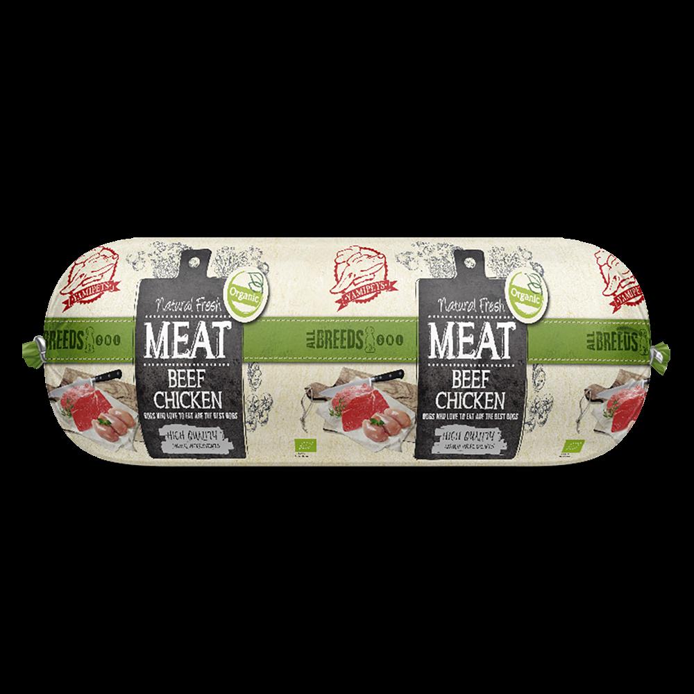 Natural Fresh MEAT Bio. hondenworst beef and chicken 600 gr
