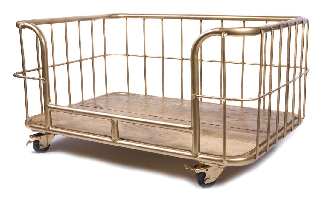 Lex & Max hondenbank metal wire basket goud
