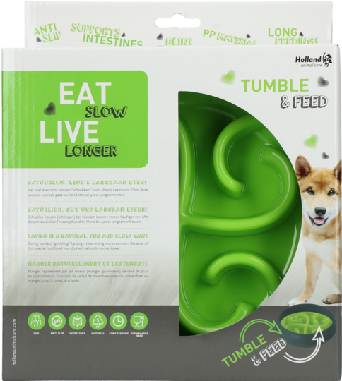 Eat Slow Live Longer Tumble Feeder green