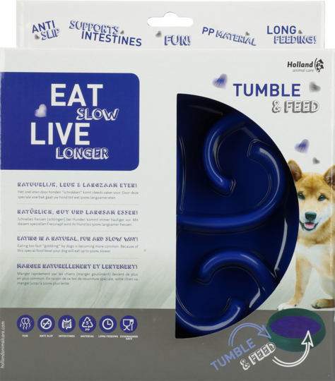 Eat Slow Live Longer Tumble Feeder blue