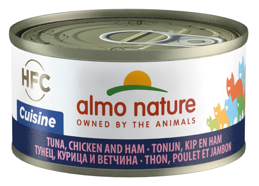 Almo Nature kattenvoer HFC Cuisine tonijn, kip en ham 70 gr