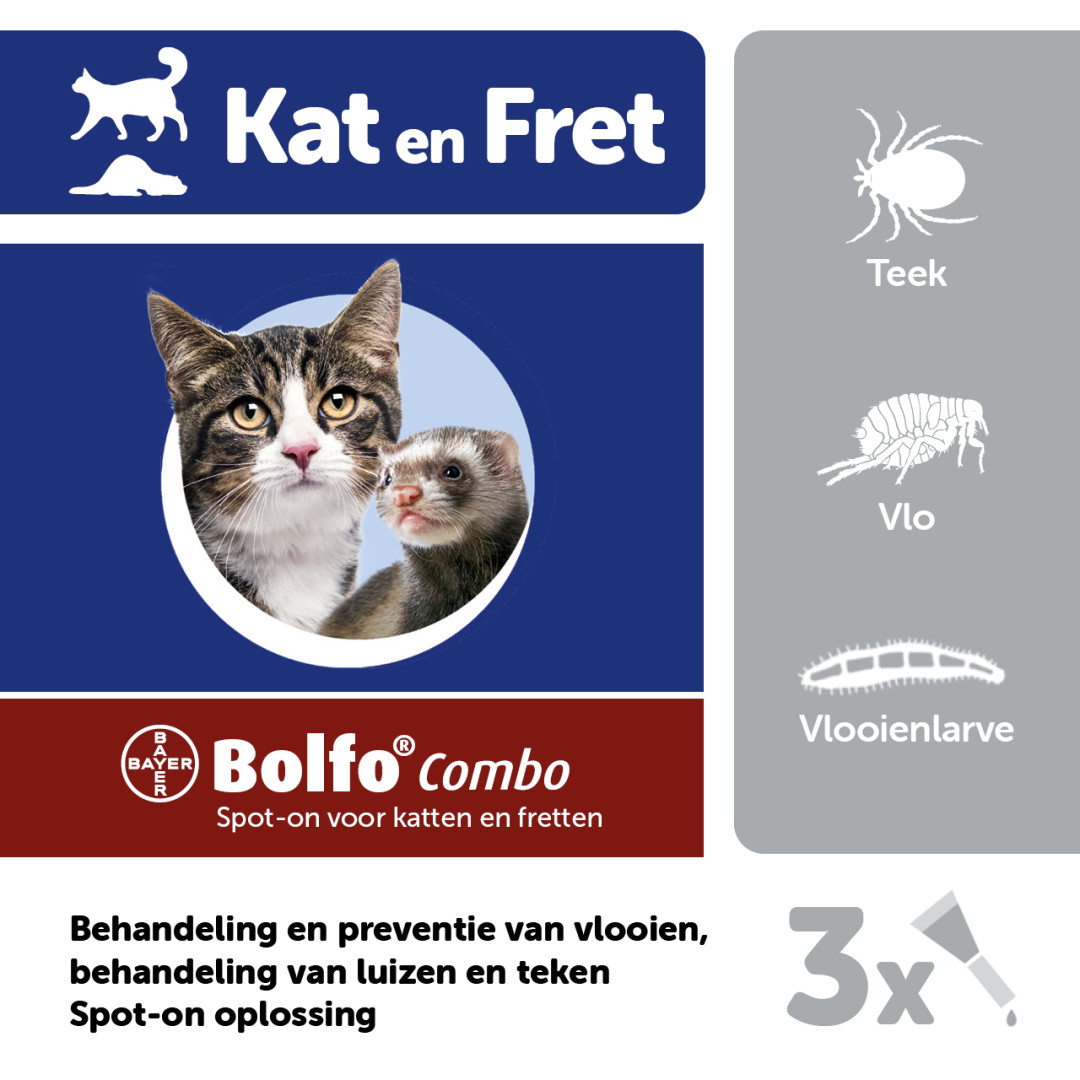 Bolfo Combo kat/fret vlooiendruppels<br>3 pipetten