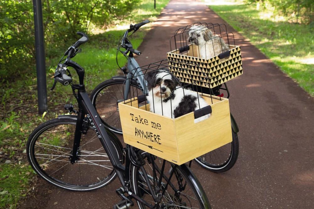 Beeztees Journey houten fietsmand met kap