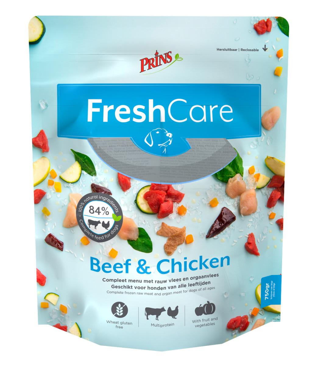 Prins hondenvoer FreshCare Schijven beef en chicken 750 gr